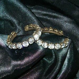Vintage Signed Graziano Hoop Rhinestone Earrings